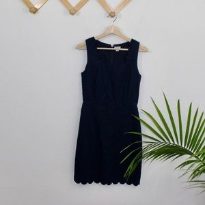 J. Crew | navy blue scalloped mini dress